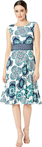 London Times Women's Paisley Tile Inset Waist Fit & Flare Soft White/Teal 10