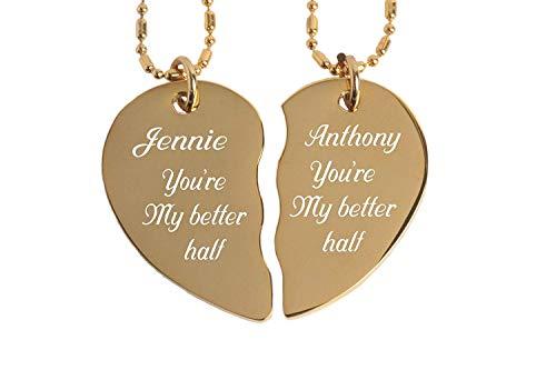 Engraved Gold Couple's Broken Heart Necklace Set