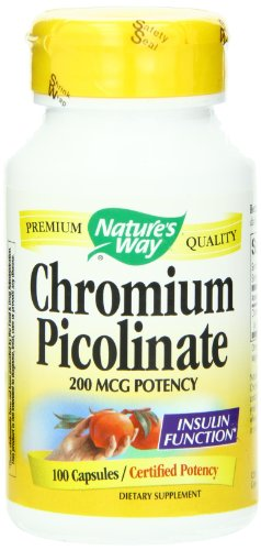 Nature's Way Chromium Picolinate, 200mcg, 100 Capsules (Pack of 4)