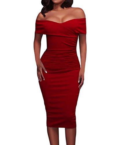 Tiksawon Womens Shoulder Bodycon Clubwear product image