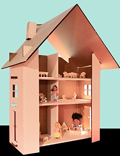 Makenplay Doll House Cardboard 3 Stores 6 rooms by Makenplay