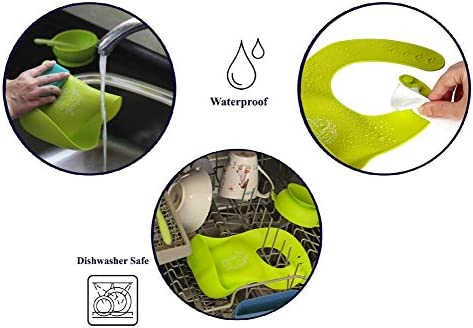 Kibi 6 PCS /¡Babero Impermeable Silicona Limpia F/ácilmente Anti Bacterias Anti Manchas Anti Al/érgico Resistente y Suave Babero Alimenticio Silicona Para Ni/ño o Ni/ña Baberos Beb/é Reci/én Nacido