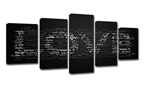 FOLOIN Wall Frame Abstract Pictures Home Decor 5 Pieces The Letter Love Stands for Eternal Love You Forever Painting HD Prints Modern Canvas ()