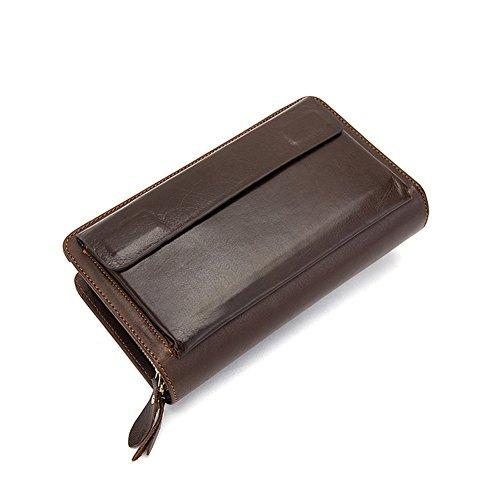 Genda 2Archer Männer Leder Reißverschluss Clutch Tasche Kartenhalter Geldbörse