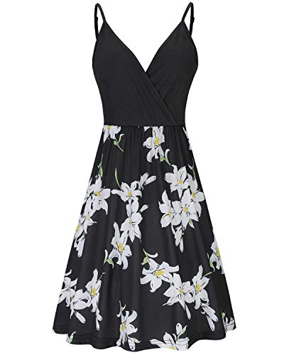 (STYLEWORD Women's V Neck Floral Spaghetti Strap Summer Casual Swing Dress with)