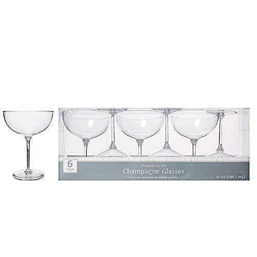 ELEGANI CLEAR Premium Plastic Champagne Coupe Glasses 6ct