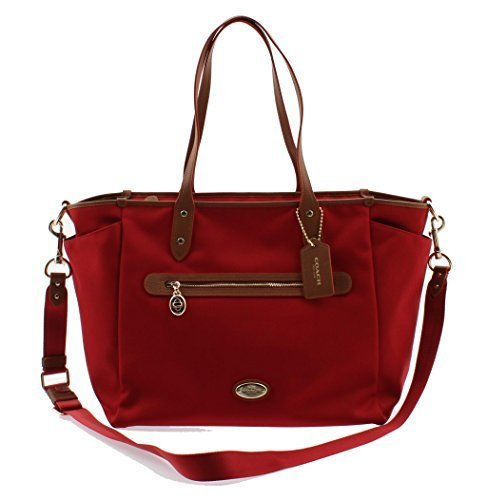 Coach Side Zip Tote (Coach Sawyer Canvas Multifunction Baby Diaper Bag F37758 (Classic Red))
