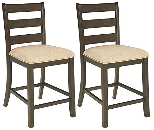Ashley Furniture Signature Design - Rokane Upholstered Barstool - Set of 2 - Casual Style - Brown ()