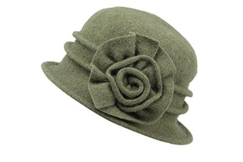 - Dantiya Women's Winter Classic Wool Cloche Bucket Hat Warm Cap with Flower Accent (Green)