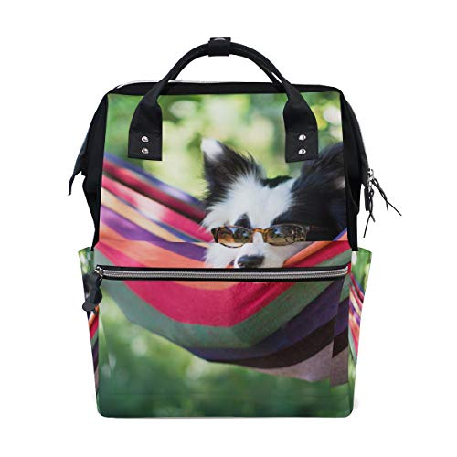 - Dogs Breed Border Collie Glasses Lies Hammock Bag Backpack Large Capacity Muti-Function Travel Bag for Mummy Women