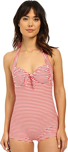 Seafolly Women's Riviera Coast Stripe Boyleg Maillot Chilli Red Swimsuit AU 12 (US 8)
