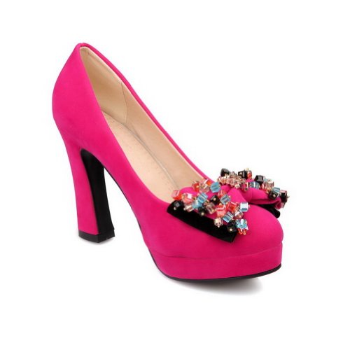 VogueZone009 Womans Closed Round Toe High Heel Suede Frosted Solid Pumps with Bows Blue EMUQi