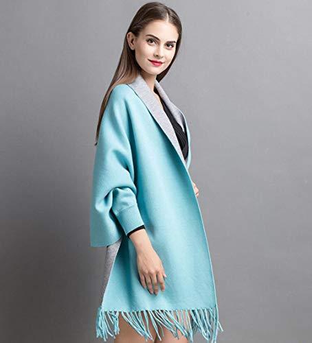 dama Size mantón color Chal Capa De Azul One Tejida Chal chaqueta Tamaño Azul Abrigo Mantón ORq0Fgnw