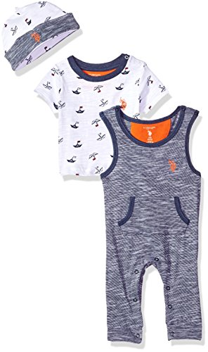 U.S. Polo Assn. Baby Boys T-Shirt, Accessory and Pant Set, Sleepy Play Sailboat allover Print, 3-6 Months