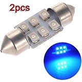 SODIAL(R) 2x C5W LED 6 SMD 31MM Xenon Ampoule Lampe navette plafonnier dome Lumiere Bleu 12V DC