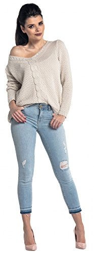 Zeta Ville - Suéter jersey de punto de ochos cuello V - para mujer - 346z Beige