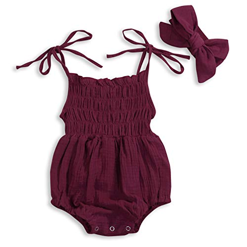 Sling Backless - KCSLLCA Baby Girls Sleeveless Romper Set Solid Color Sling Backless Jumpsuit Outfits with Headband (Wine, 6-12 Months)