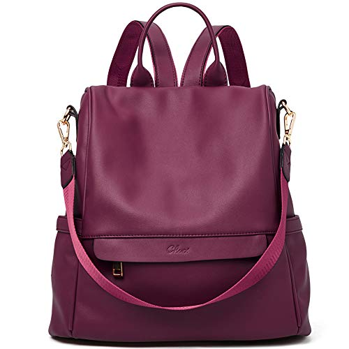 - Women Backpack Purse Fashion Leather Large Travel Bag Ladies Shoulder Bags Wine Red