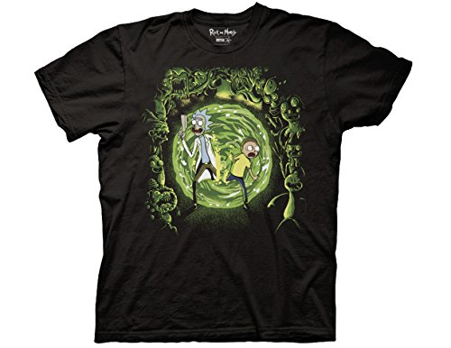 Ripple Junction Rick and Morty Portal and The Monsters Adult T-Shirt 3XL Black