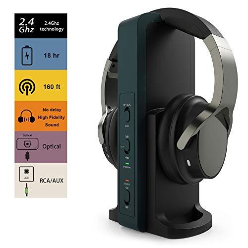 TV Funkkopfhörer, Over-Ear Kabellose Kopfhörer mit 2.4GHz Digitales Ladestation für Fernseher HiFi DVD, Sender mit…