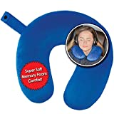 My Perfect Nights Premium Travel Neck Pillow (Blue) Super Soft Memory Foam with Washable Cover