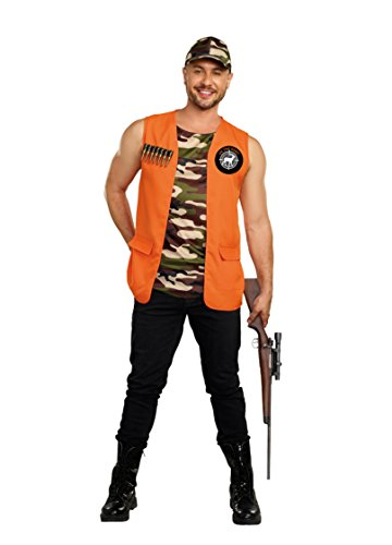 Dreamgirl Men's On The Hunt Hunter Costume, Orange, Large -