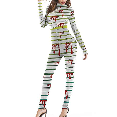 Meеt U Women Full Bodycon Jumpsuit Halloween Costume Fancy 3D Printed Skeleton Stretchy Bodysuit Unitard (Pattern#5,Large/X-Large)