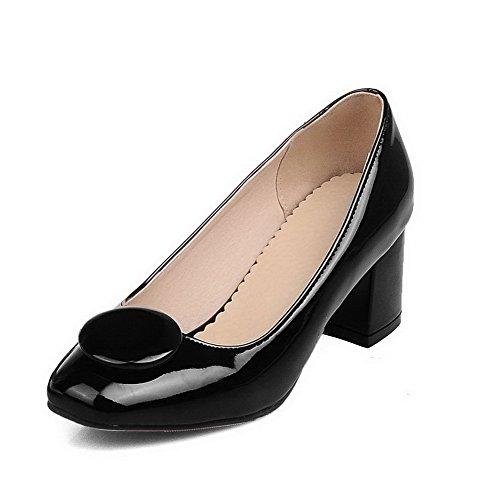 BalaMasa Womens Square-Toe Chunky Heels Low-Cut Uppers Patent-Leather Pumps-Shoes Black R4Yo1jY2q0