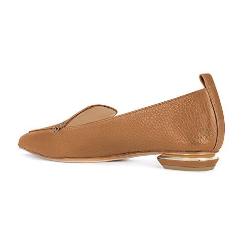 FSJ Women Fashion Pointed Toe Pumps Low Heels Casual Loafers Slip On Summer Shoes Size 4-15 US Bronze-matte 44zJVGCT