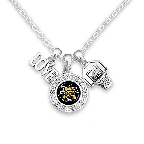 (FTH Wichita State Shockers Chain Necklace with Three-Charm Cluster: Love, Logo, Basketball )
