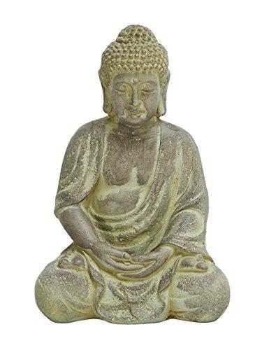 Fiber Clay Buddha Color: Antique Yellow, Size: Small