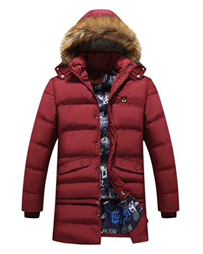Fur Faux Red Up Men's Button Hooded Coat today UK Jacket Down Winter Removable xqI4pFZH