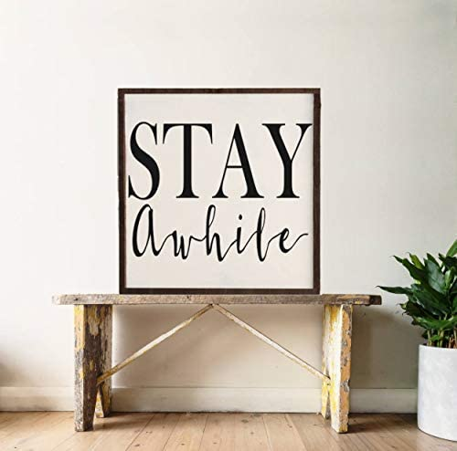 Stay Awhile Family Wooden Sign plaque Country,Home decor