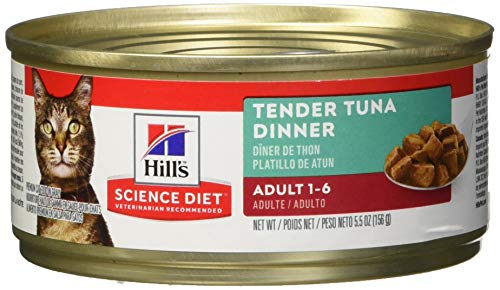Hill's Science Diet Wet Cat Food, Adult, Tender Tuna Recipe, 5oz Cans, 24 Pack