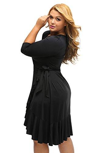 Neuf femmes Noir manches 3/4à volants Wrap Robe de soirée Robe Bureau Robe Casual Soirée Porter Plus Taille XXL UK 16EU 44