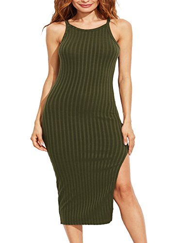 SheIn Women's Sexy Solid Sleeveless Side Slit Bodycon Dress Medium Olive Green