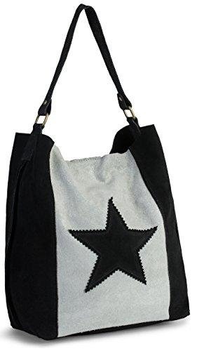 LIATALIA Womens Large Star Real Italian Suede Leather Single Shoulder Strap Hobo Slouch Shopper Handbag - SERENE Black & Light Grey