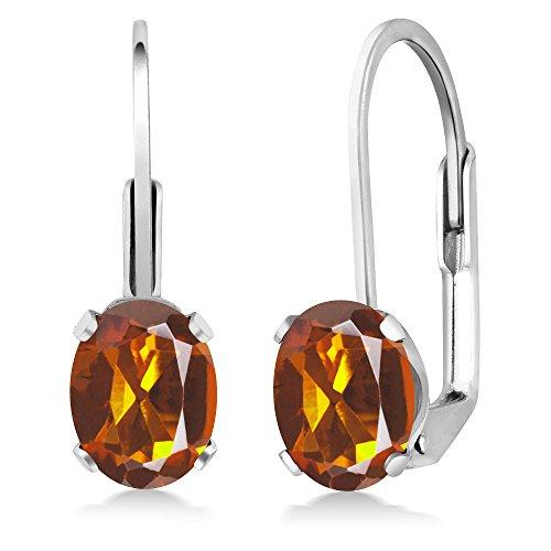Gem Stone King 1.40 Ct Oval Orange Madeira Citrine 925 Sterling Silver Leverback earrings - Madeira Citrine Ring