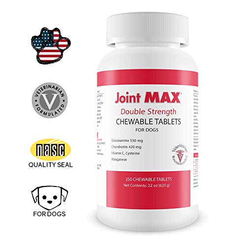 Joint MAX DS Double Strength for Dogs - Vitamins, Minerals, Antioxidants - Glucosamine, Chondroitin - Beef Flavor - Maximum Joint Health Supplement - 250 Chewable Tablets
