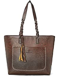 Women Vintage PU Leather Tote Shoulder Bag Handbag Big Large Capacity