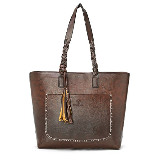 Handbag Purse Bag Handbag (OURBAG Women Vintage PU Leather Tote Shoulder Bag Handbag Big Large Capacity Coffee Medium)