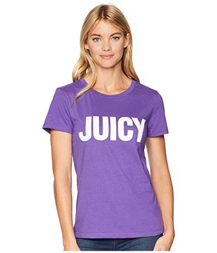 Juicy Couture Women's Track Juicy Gothic Studs Short Sleeve Tee Royal Purple Medium