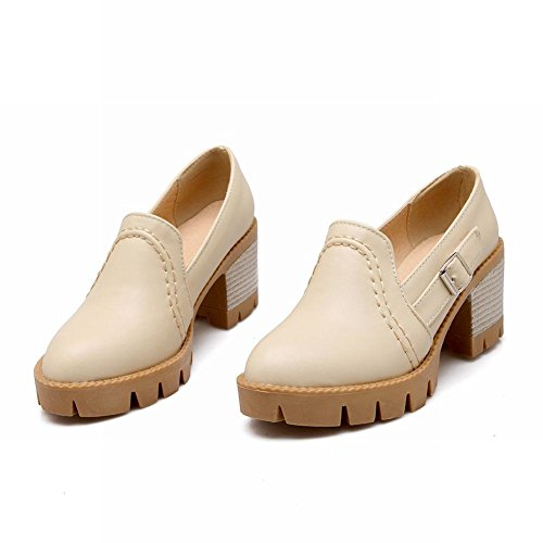 Platform Chunky Shoes Pumps Beige Charm Fashion Womens Heel Foot qBFnta