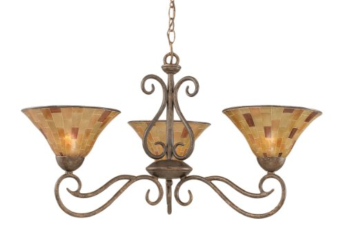 Toltec Lighting 43-BRZ-703 Olde Iron Three-Light Uplight Chandelier Bronze Finish with Penshell Resin Shade