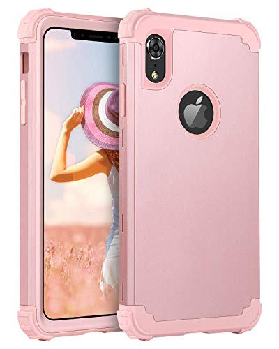 BENTOBEN iPhone XR Case, iPhone XR Phone Case, 3 in 1 Heavy Duty Rugged Hybrid Sturdy Hard PC Cover Soft Silicone Bumper High Impact Resistant Shockproof Protective Case for Apple iPhone XR,Rose Gold