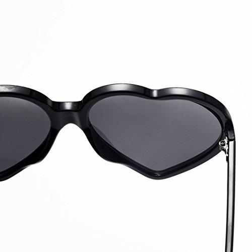 Mujer Corazón de negro integradas Forma Hunpta de para Gafas con Marrón Sol Unisex 65aavq0w