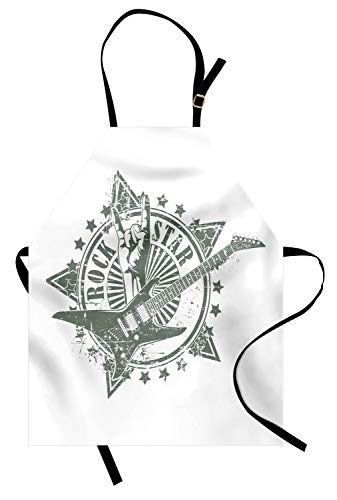 Ambesonne Guitar Apron, Stars with Rock Sign Monochrome Musical Instrument Design Rockstar Life Singing, Unisex Kitchen Bib Apron with Adjustable Neck for Cooking Baking Gardening, Pale Grey White]()