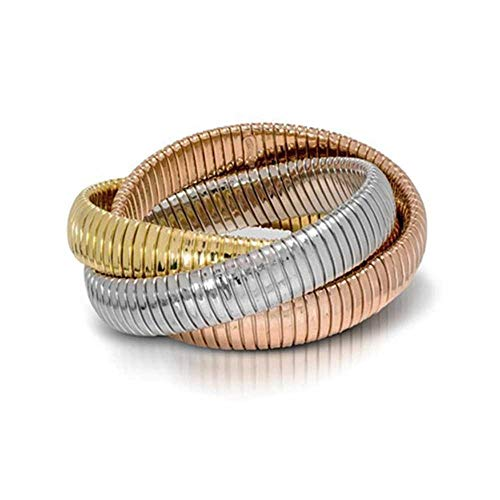 (Jennifer Miller Jewelry Triple Strand Flex Bracelet - 14K Gold Plated Over Sterling Silver (Rose-White-Yellow-Gold-Plated-Silver))
