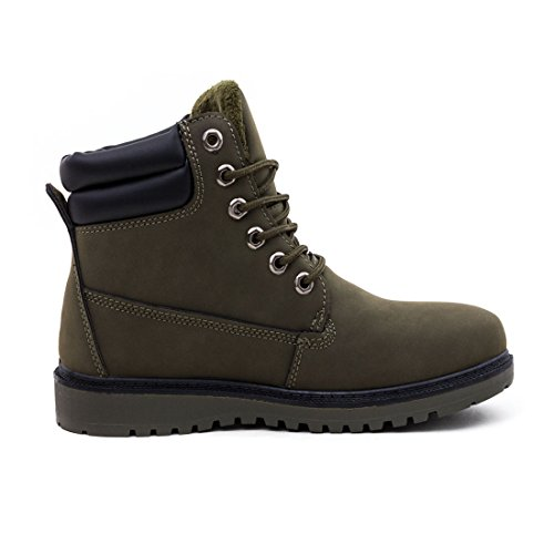 Unisex Damen Herren Worker Boots Schnür Stiefeletten Stiefel gefüttert Grün