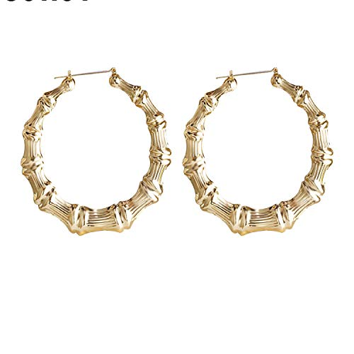 2019 Trendy Bamboo Hoop Earrings Women Female Gold Silver Color Color Classic Jewelry,Silver Plated